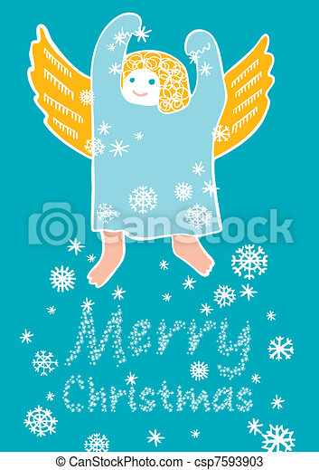 Angel with snowflakes - csp7593903