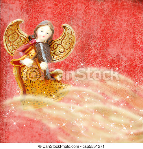 Angel with violin on red background - csp5551271