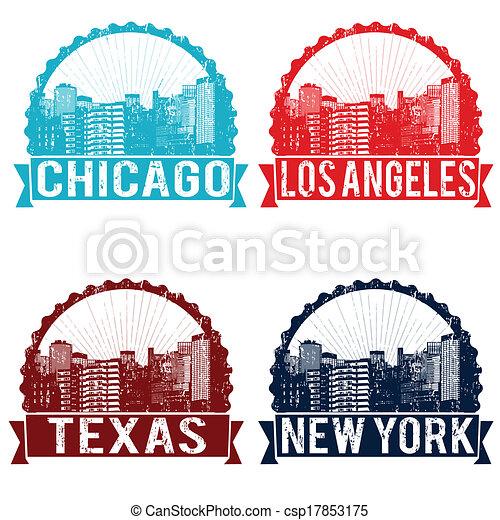 Chicago, Los Ángeles, Texas y sellos de Nueva York - csp17853175