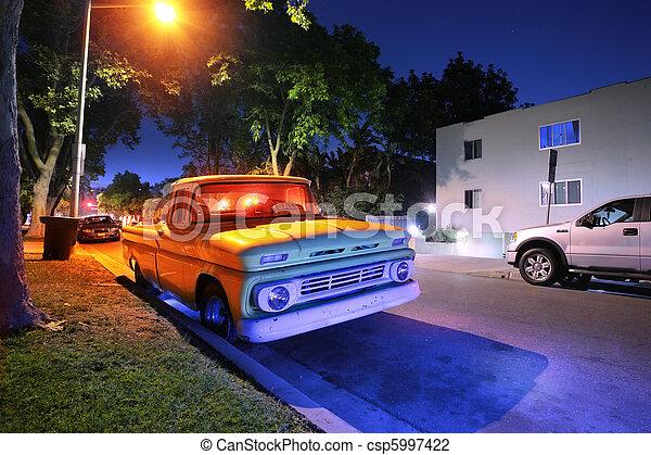 angeles usa vendange am ricain los pick up rue camion nuit californie. Black Bedroom Furniture Sets. Home Design Ideas