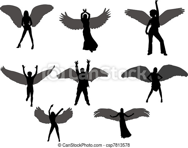 angels silhouettes - csp7813578
