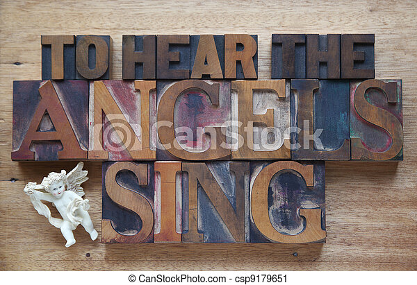 angels sing words with angel figure - csp9179651