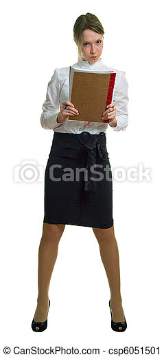 anger young girl with book - csp6051501