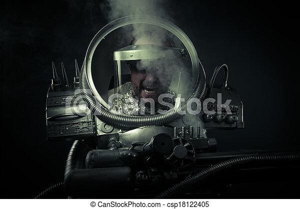 Anger.Environmental disaster. Post apocalyptic survivor in gas mask - csp18122405