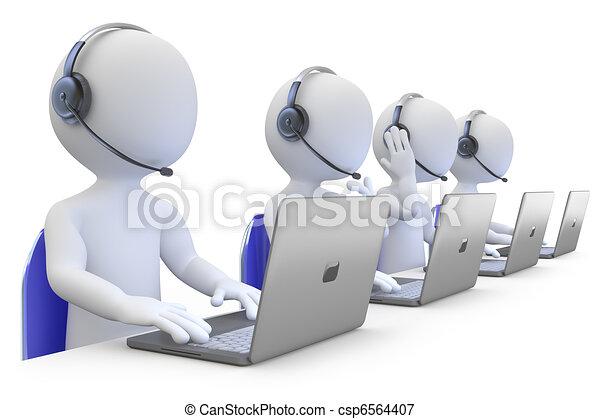 angestellte, anruf- mitte, arbeitende  - csp6564407