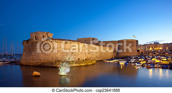Angevin Castle of Gallipoli by night - csp23641888
