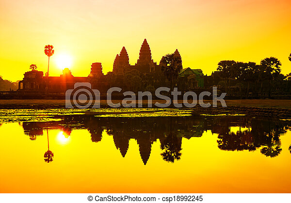 Angkor Wat sunrise at Siem Reap. Cambodia - csp18992245