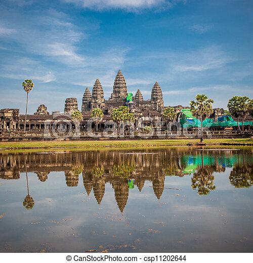 Angkor Wat temple at sunrise, Cambodia - csp11202644