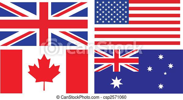 anglaise, drapeaux, parler, pays - csp2571060