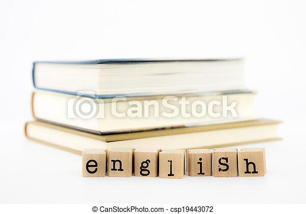 anglaise, rédaction, livres, pile - csp19443072