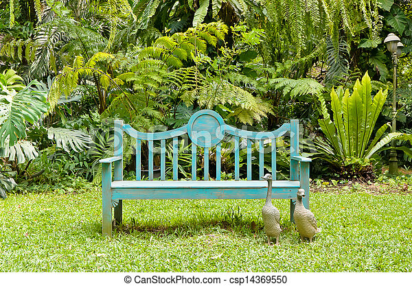 anglaise, vert, banc jardin - csp14369550