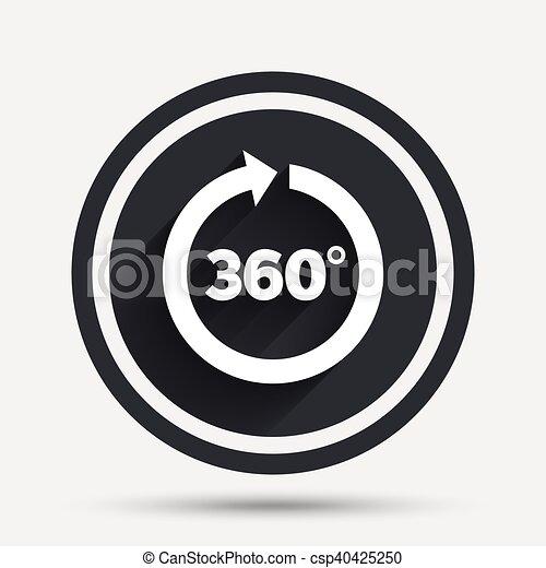Angle 360 Degrees Sign Icon Geometry Math Symbol Full Rotation