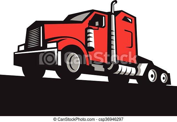 angle, demi-camion, retro, tracteur, bas - csp36946297