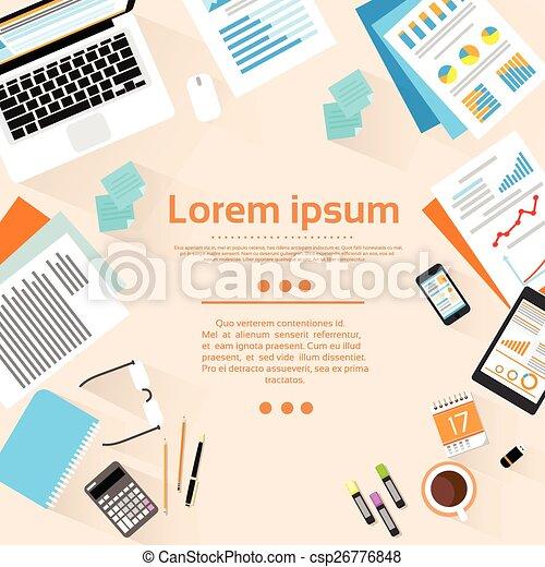 angle, espace, sommet bois, lieu travail, bureau, copie, vue - csp26776848