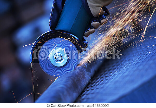 Angle grinder cutting steel - csp14680092