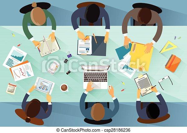 angle, professionnels, sommet, lieu travail, au-dessus, équipe, vue - csp28186236