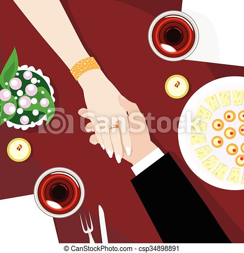 angle, restaurant, couple, tenue, table, mains, vue dessus - csp34898891