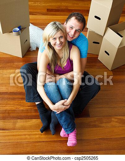 angle, séance, maison, couple, floor., élevé, en mouvement - csp2505265