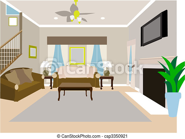 Angled Modern Living room of two story house - csp3350921