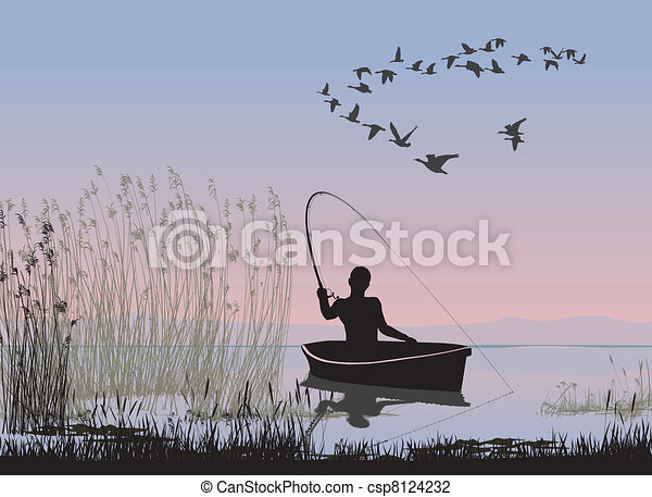 Angler on a boat - csp8124232