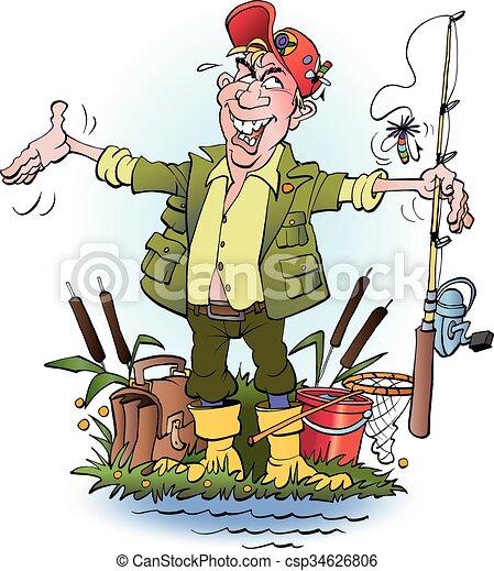 angler who lie vector cartoon illustration an angler who lie