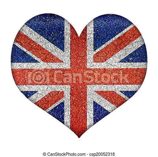 Angleterre Forme Grunge Drapeau Coeur