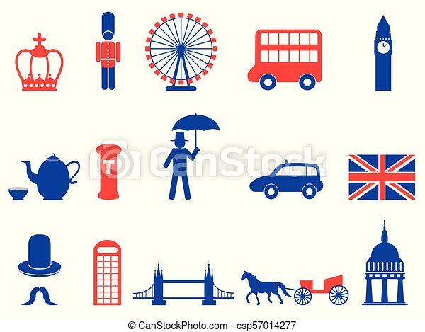 Angleterre Icônes Couleur Britannique Royaume Uni Ensemble
