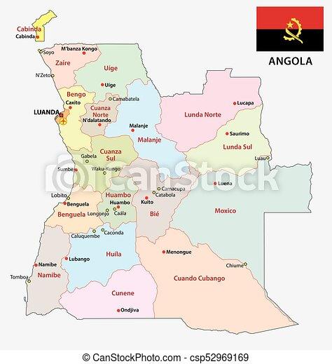 Angola administrative map with flag Angola administrative clip