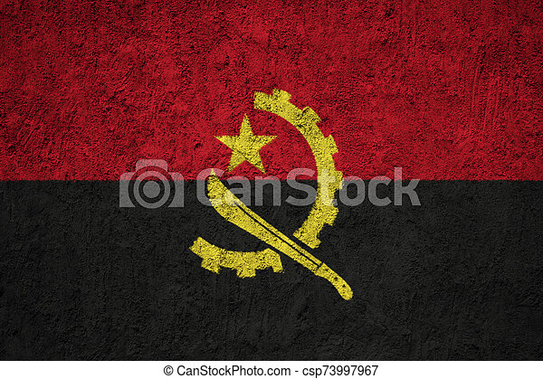 Angola flag painted on the cracked grunge concrete wall - csp73997967