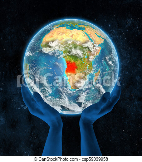 Angola on planet Earth in hands - csp59039958