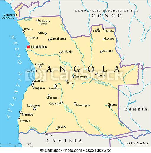 mapa dos rios de angola Angola, político, mapa. Mapa, scaling., angola, fronteiras  mapa dos rios de angola