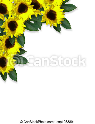 Sunflowers And Leaves Border Designs For Cards