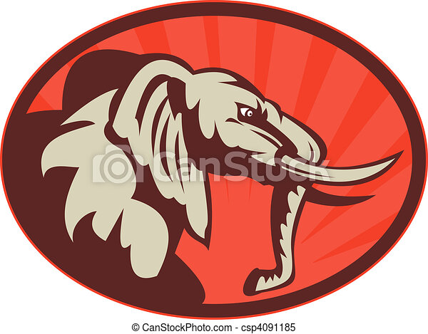 Illustration of an angry african elephant bull facing side ...
