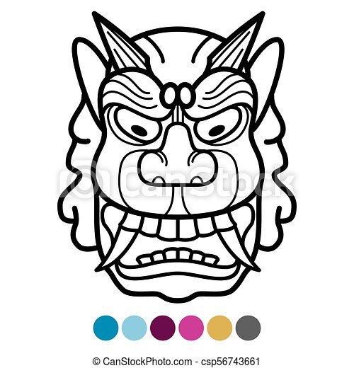 angry african traditional mask coloring page mexican tribal clip rh canstockphoto ie african clip art symbols african clip art borders free