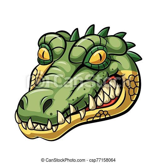 Angry alligator head mascot design - csp77158064