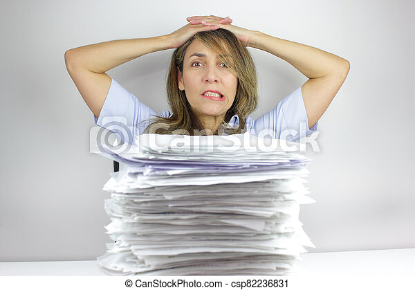 Angry at all the paperwork - csp82236831