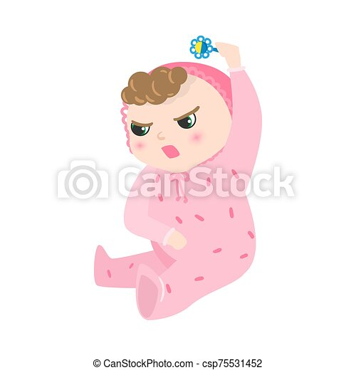 Angry baby with kinky hair sitting in pink pajama. Vector illustration in flat cartoon style. - csp75531452