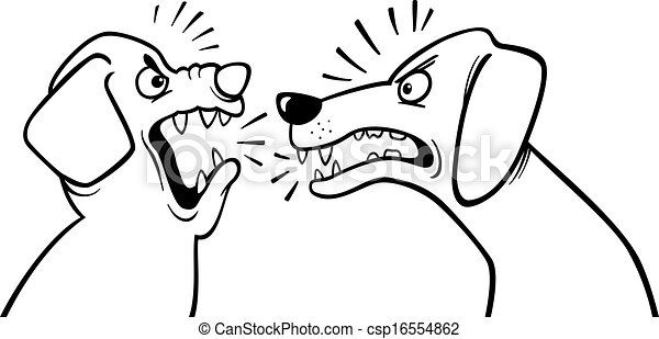 Angry barking dogs coloring page. Black and white cartoon... clip ...