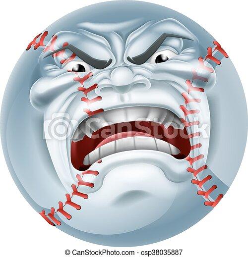 Angry Baseball Ball Sports Cartoon Mascot - csp38035887