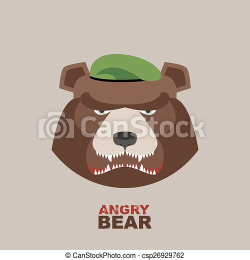 Angry bear head mascot. Bear head l - csp26929762