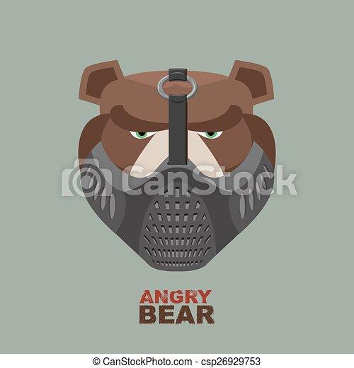Angry bear head mascot. Bear head l - csp26929753