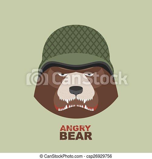 Angry bear head mascot. Bear head l - csp26929756
