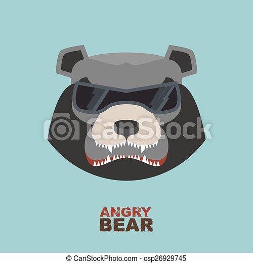 Angry bear head mascot. Bear head l - csp26929745