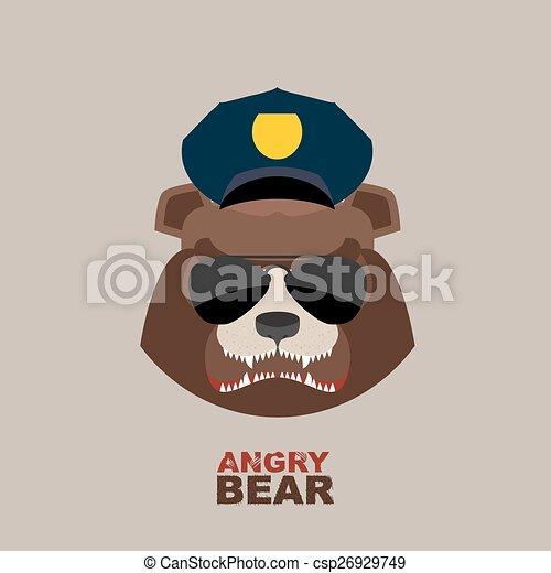 Angry bear head mascot. Bear head l - csp26929749