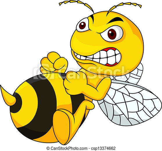 Angry bee cartoon  - csp13374662