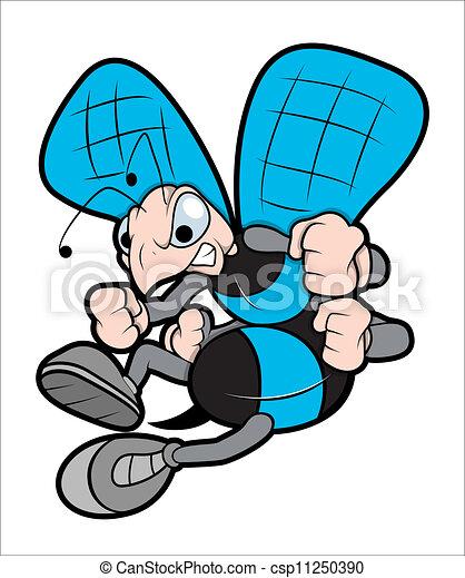 Angry Bee Mascot Vector Illustraton - csp11250390