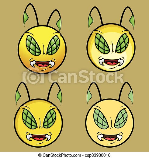 Angry Bee Monster Smiley Mascot Set - csp33930016