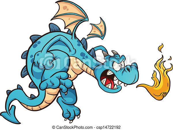 Angry blue dragon - csp14722192