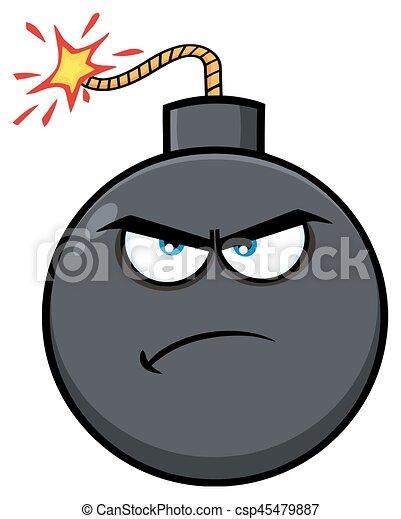 Angry Bomb Face Cartoon Mascot Character - csp45479887