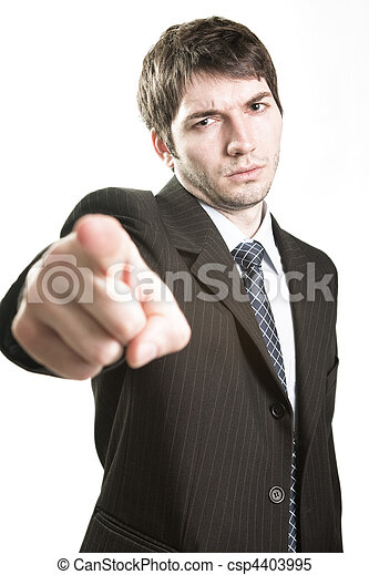 Angry boss or furious business man pointing - csp4403995